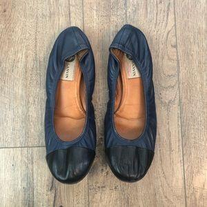 Lanvin Paris Black & Blue Leather Ballet Flats